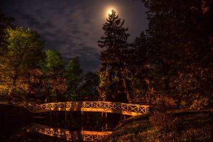 Большое Болдино. Горбатый мостик и луна. Вечернее фото усадьбы Пушкина