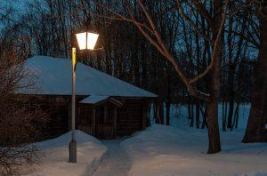 Болдино. Ночные зимние фото. Надворные постройки. Банька