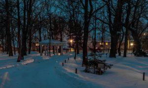 Болдино. Ночные зимние фото. Надворные постройки. Шатровая беседка